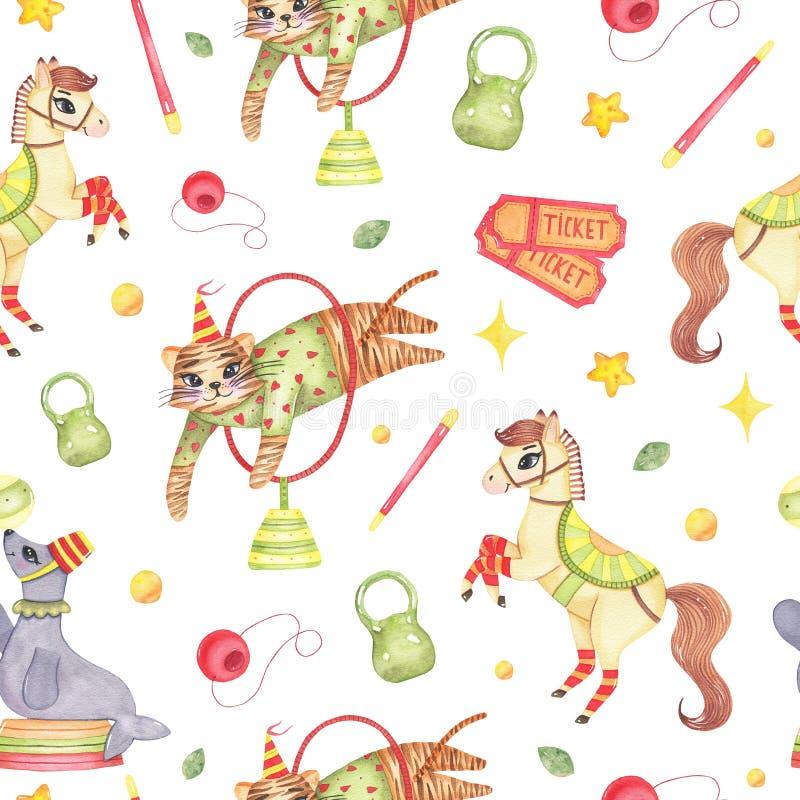 Akwareli cyrkowego zwierzęcia bezszwowy wzór z koniem, tygrysi foka błazenu nos odizolowywający ilustracja wektor