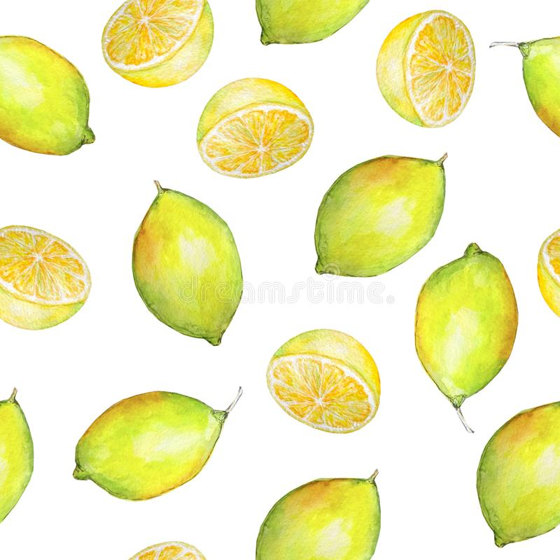 Akwareli cytryny i cytryn bezszwowe deseniowe połówki royalty ilustracja