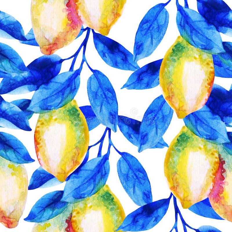 Akwareli cytryny owoc gałąź z jaskrawym błękitem opuszcza bezszwowego wzór ilustracja wektor