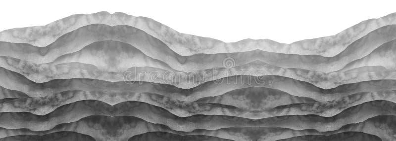 Akwareli czarny i biały wzgórze, wzgórek, trawa pustynny piasek Lato, jesień krajobraz na białym odosobnionym tle Lato ziemia ilustracja wektor