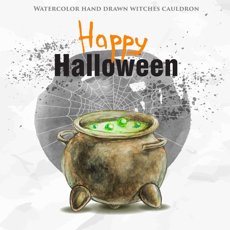 Akwareli czarownicy ręka rysujący kocioł z zielonym jadem ilustracji