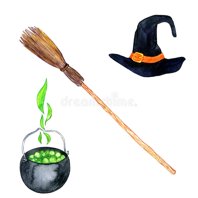 Akwareli czarownicy symbole ilustracja wektor