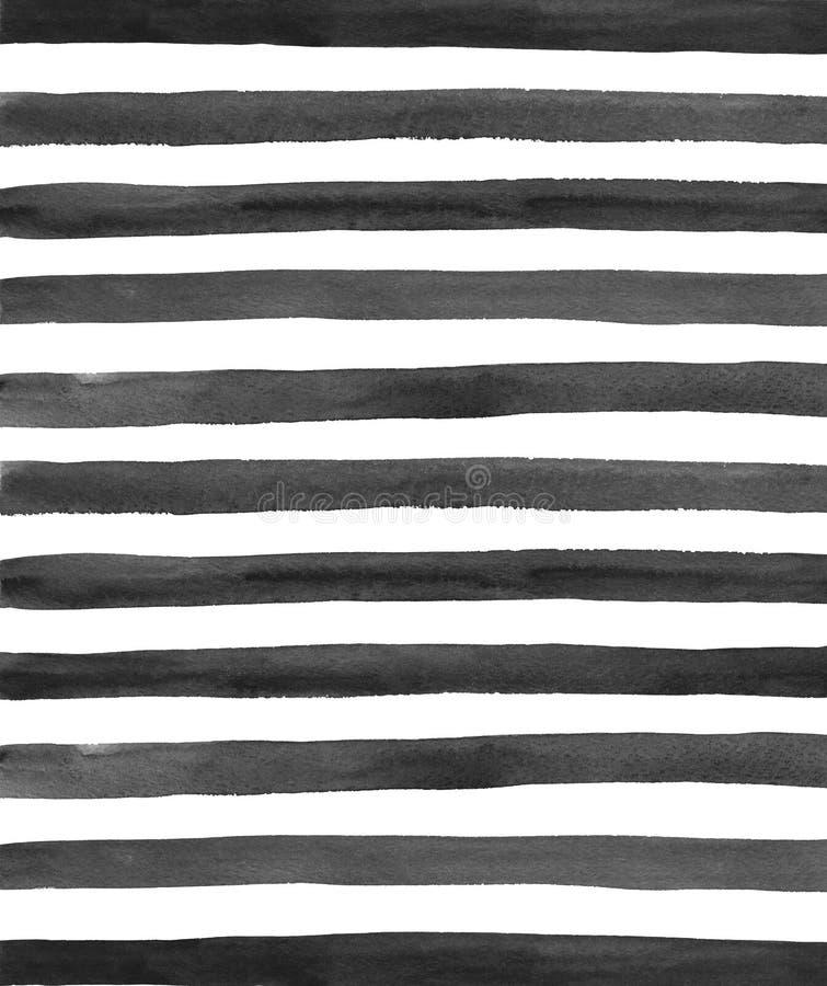 Akwareli czerń paskuje tło zdjęcia stock
