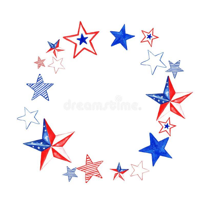 Akwareli czerwieni, białych i błękitnych gwiazd rama, Kolory USA flaga Wakacje 4th Lipa sztandar, odizolowywający ilustracji