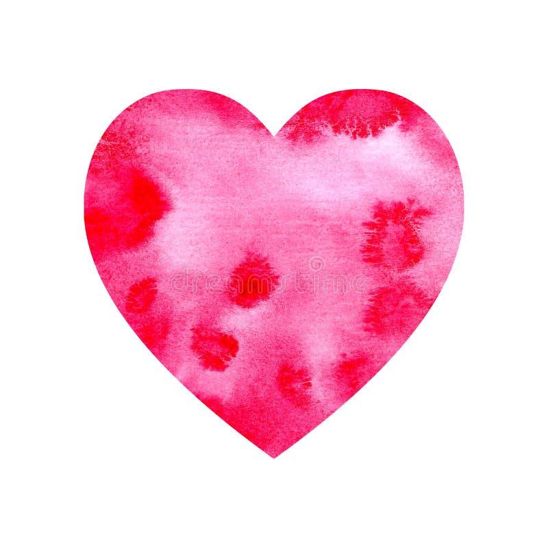 Akwareli czerwieni menchii serce royalty ilustracja