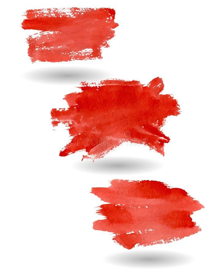 Download Akwareli czerwieni plamy ilustracja wektor. Ilustracja złożonej z atrament - 57669016
