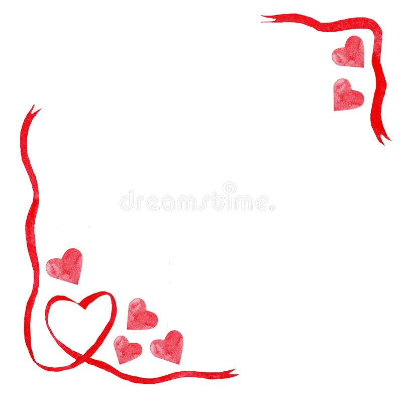 Akwareli czerwoni serca, faborek ramy miłości ślubna walentynki royalty ilustracja