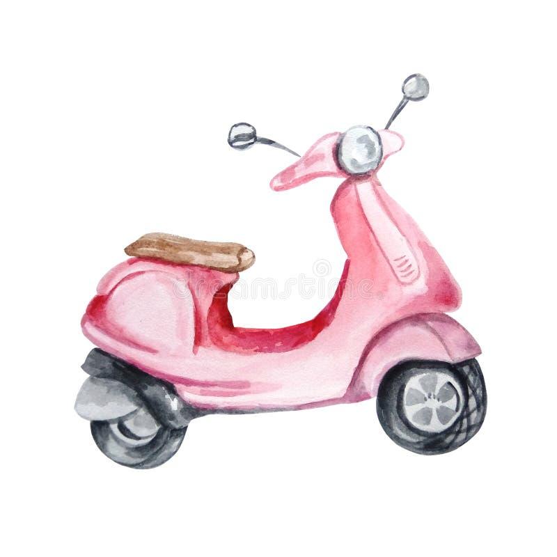 Akwareli czerwony retro moped royalty ilustracja