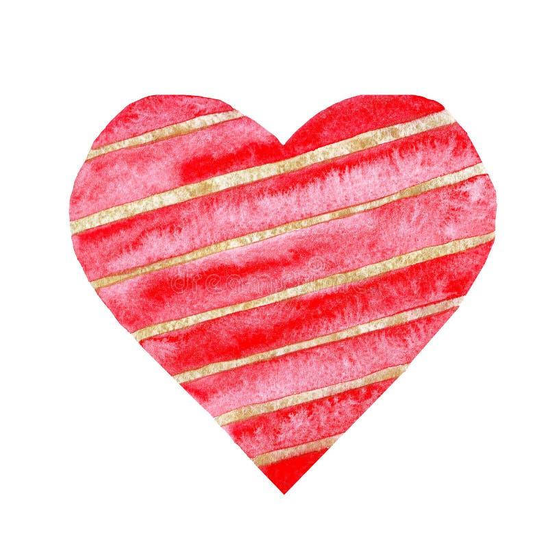 Akwareli czerwony serce z złotymi paskami kocha ślubną walentynki royalty ilustracja