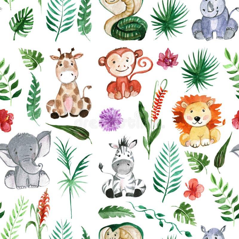 Akwareli dżungli przyjaciół zwierzęta, Africa, tropikalni liście ilustracja wektor