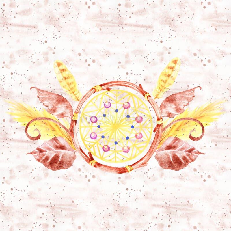 Akwareli dekoracji czecha skład Boho dekoracja Miejscowego wymarzony modny projekt Tajemnica etnic plemienny druk ilustracja wektor