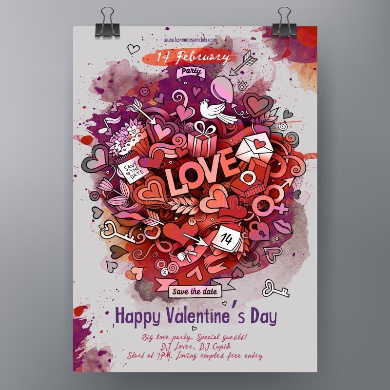 Akwareli Doodle walentynek dnia wektorowa ręka rysujący Szczęśliwy plakatowy projekt ilustracji