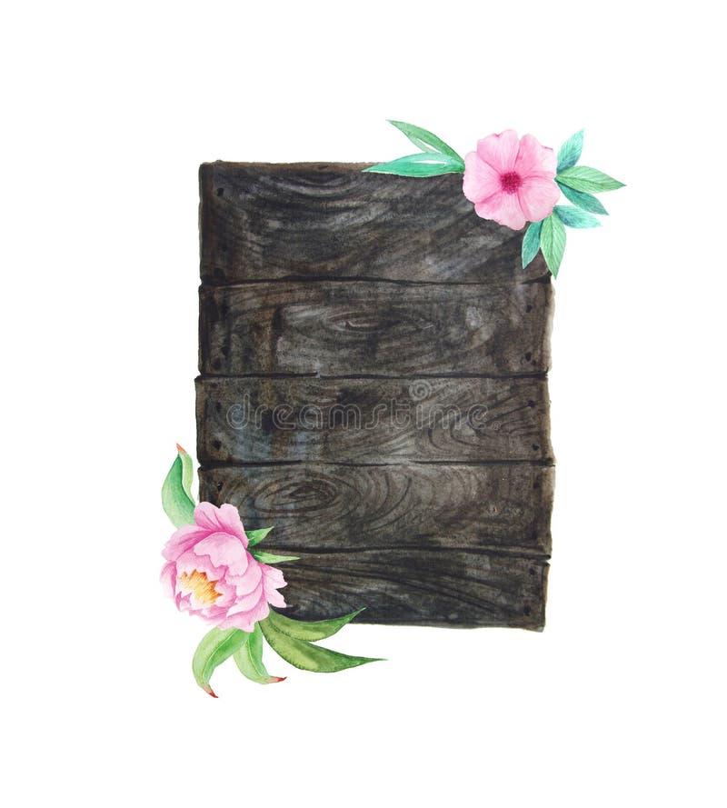 Akwareli drewniane deski z kwiatami i liśćmi ilustracja wektor