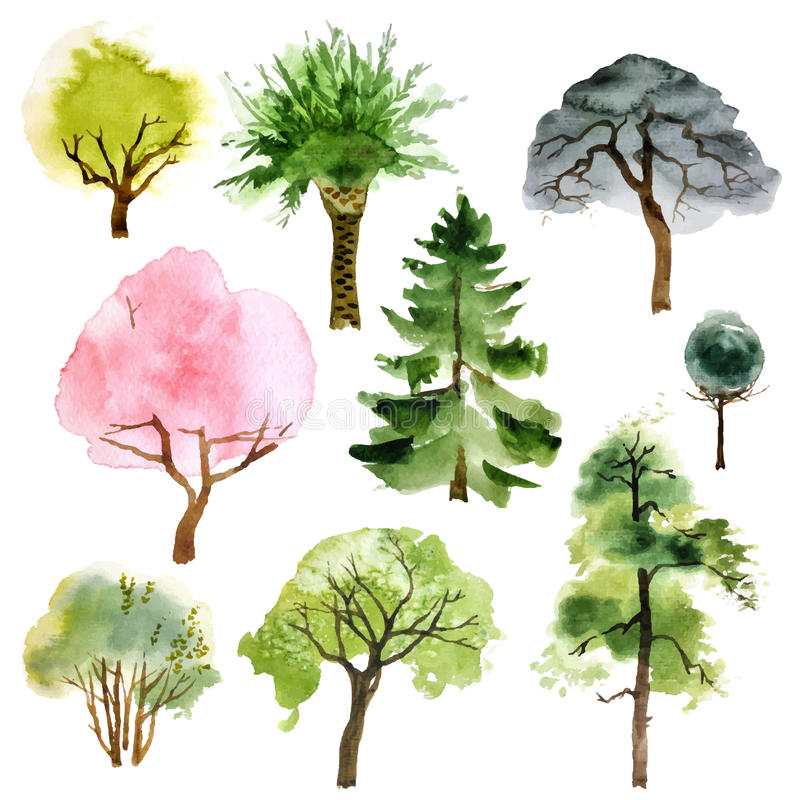 Akwareli drzewa ustawiający ilustracji