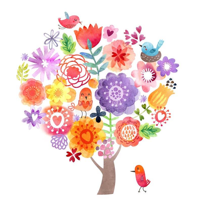 Akwareli drzewo z kwiatami i ptakami