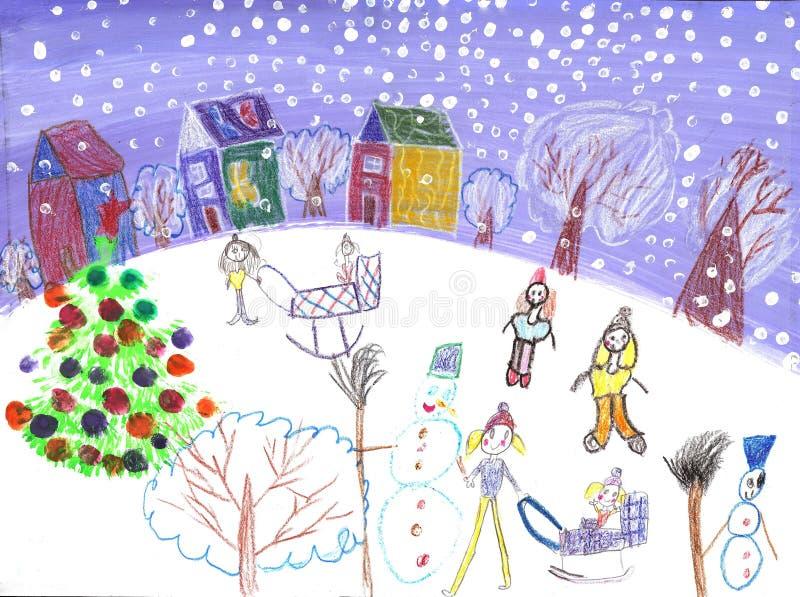 Akwareli dzieci rysuje zimy sania przejażdżkę ilustracji