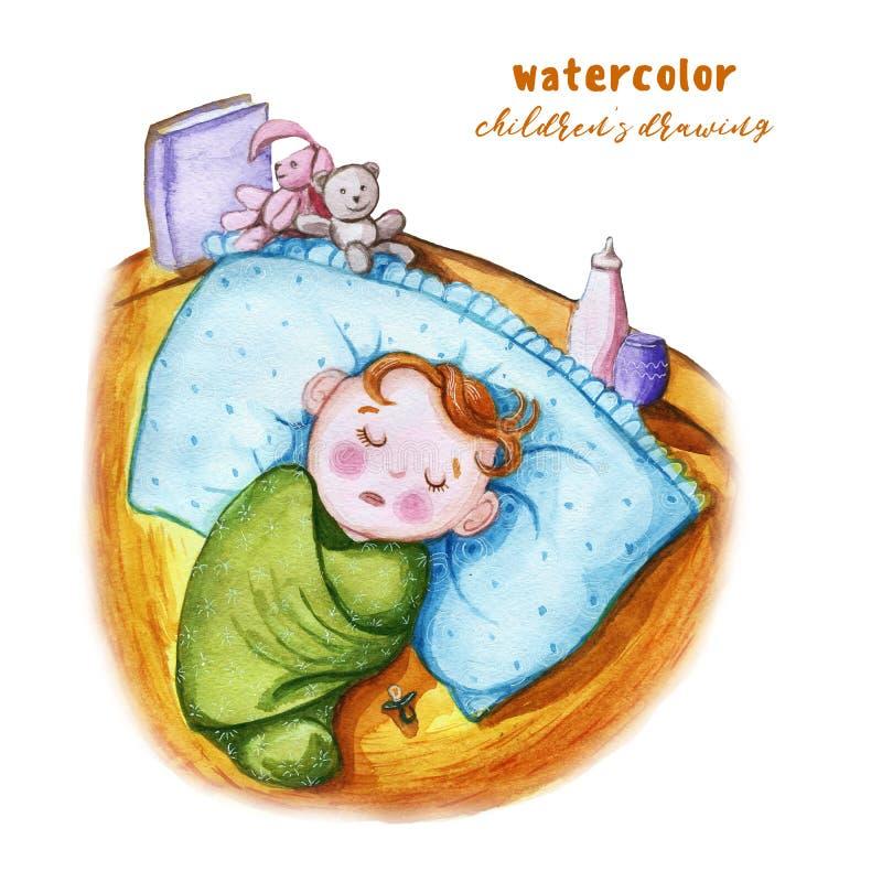 Akwareli dzieci ` s rysunek dziecko w pieluszce, śpi na wielkiej poduszce, obok sutka, obok on, matki i nurs, royalty ilustracja