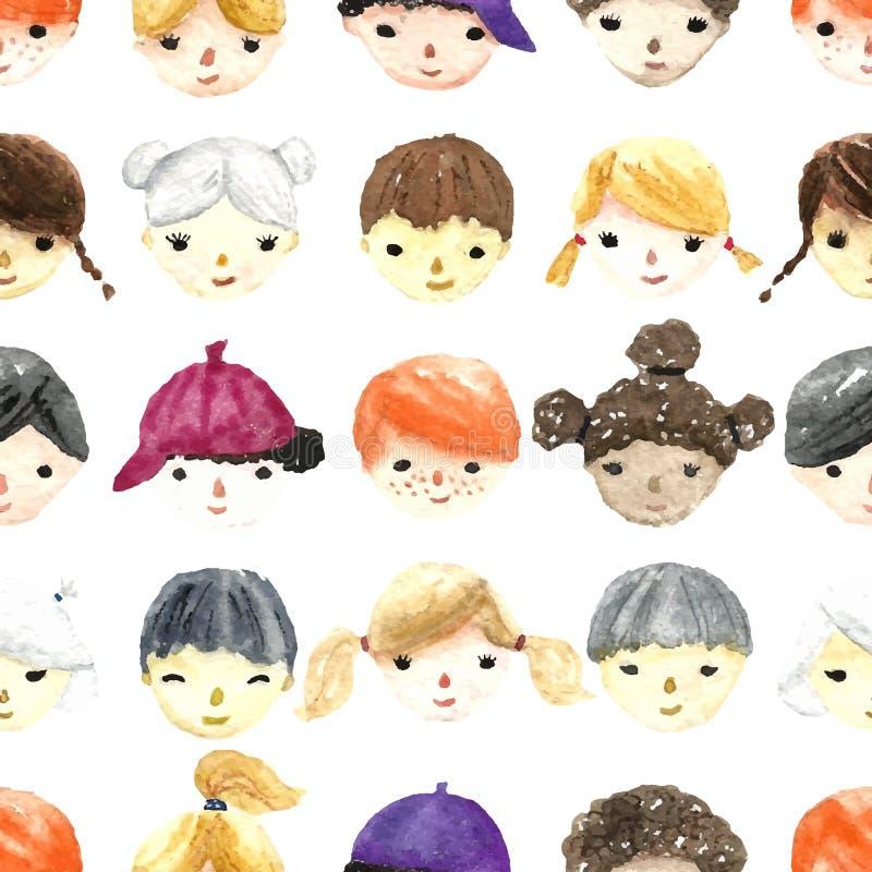 Akwareli dzieci twarze royalty ilustracja