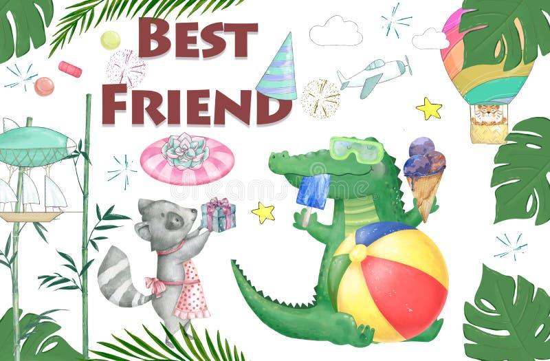 Akwareli dziecka prysznic croc dandy i roccoon jedzenia smakowity set Śliczni crocodaile dla kartki z pozdrowieniami, urodziny, z royalty ilustracja