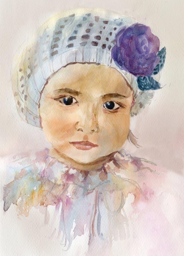 Akwareli dziewczynki portret ilustracja wektor