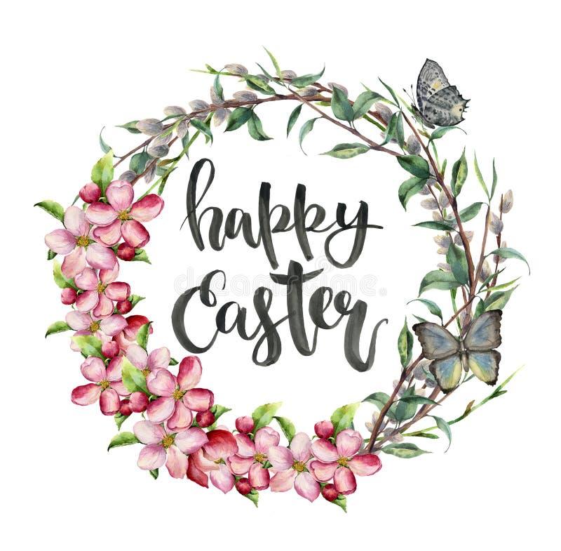 Akwareli Easter karta z motylem, jabłko kwiatami i literowaniem, Ręka malująca ilustracja z wierzbą, gałąź ilustracja wektor