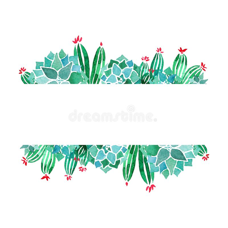 Akwareli echeveria i kaktusów sukulentów negatywu przestrzeni liniowa minimalistyczna rama Horyzontalna przestrzeń dla pisma ilustracja wektor