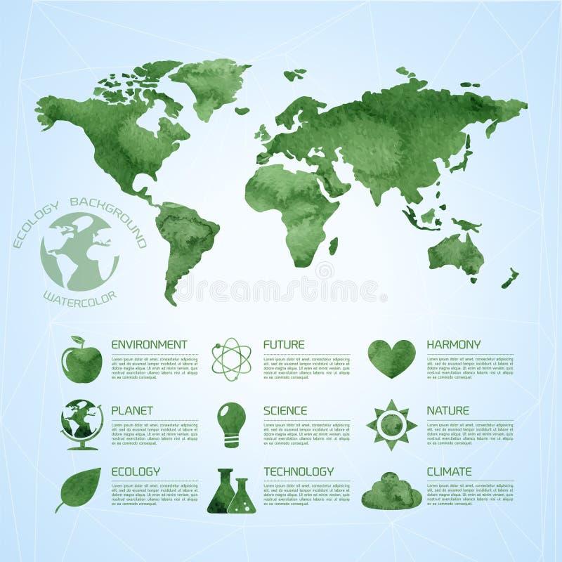 Akwareli ekologii infographic tło ilustracji