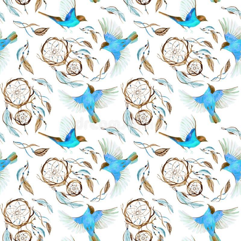 Akwareli etniczny dreamcatcher royalty ilustracja