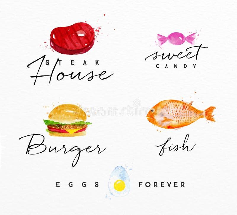 Akwareli etykietki hamburger ilustracji