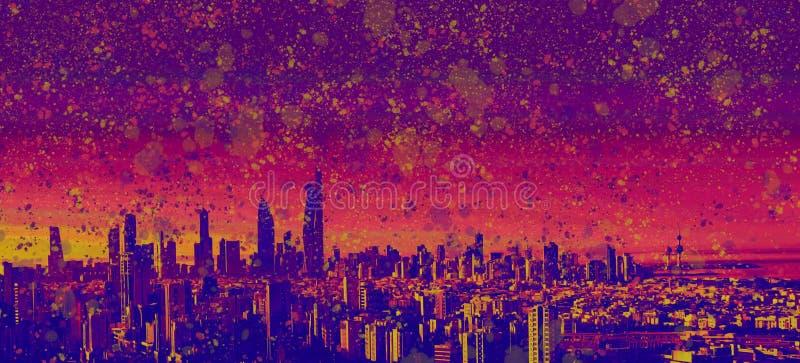 Akwareli farba Bryzga Kuwejt Surrealistyczną panoramę royalty ilustracja