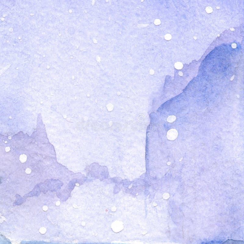 Akwareli fiołkowej zimy nieba krajobrazu tekstury śnieżny tło royalty ilustracja