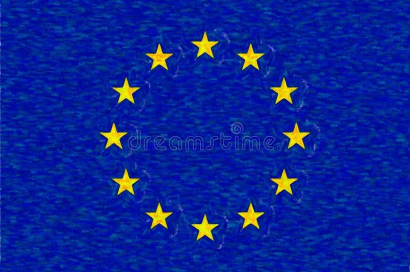 Akwareli flaga Europejski zjednoczenie, papierowa tekstura royalty ilustracja