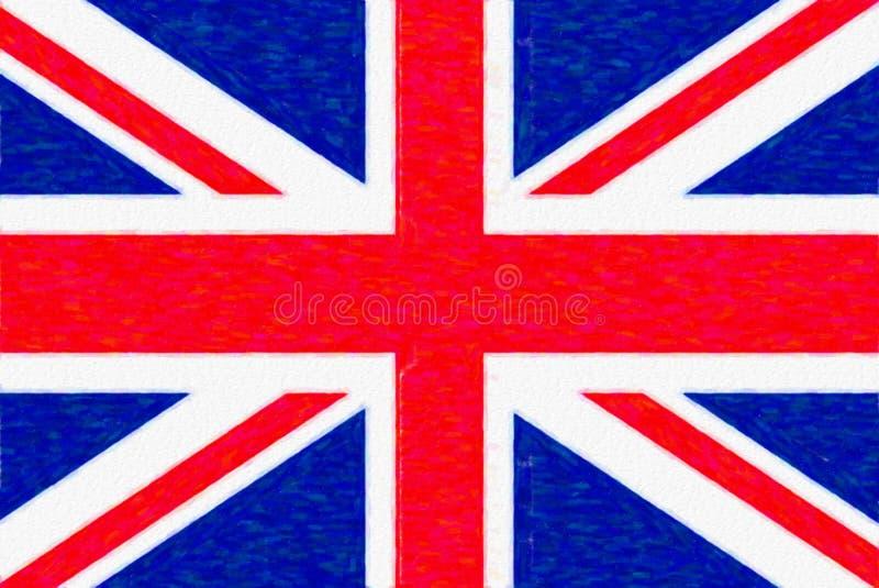 Akwareli flaga Wielki Brytania, papierowa tekstura ilustracja wektor