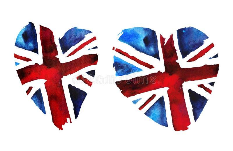 Akwareli flaga Wielki Brytania w formie serca royalty ilustracja