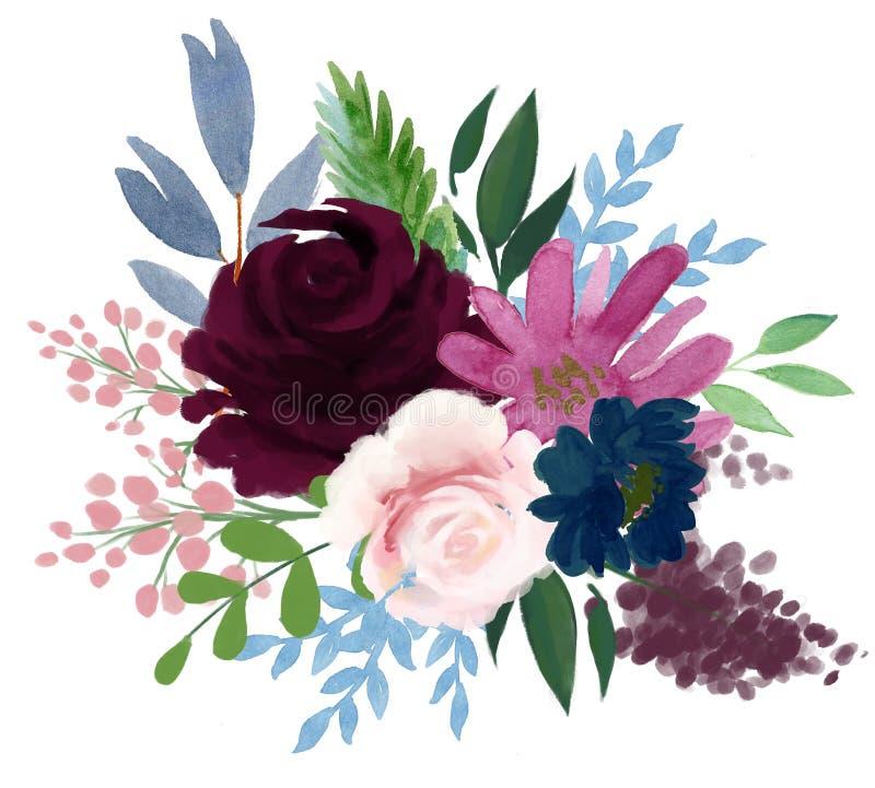 Akwareli flor rocznika artystycznej różanej peoni kwiatu abstrakcjonistyczny arr royalty ilustracja
