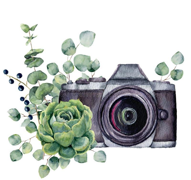 Akwareli fotografii etykietka z sukulentem i eukaliptusem Wręcza patroszoną fotografii kamerę z kwiecistym projektem odizolowywaj ilustracja wektor