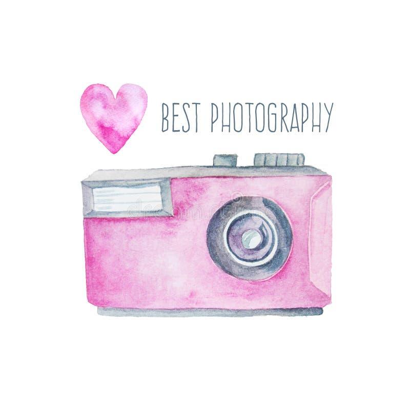 Akwareli fotografii kamera i menchii serce royalty ilustracja