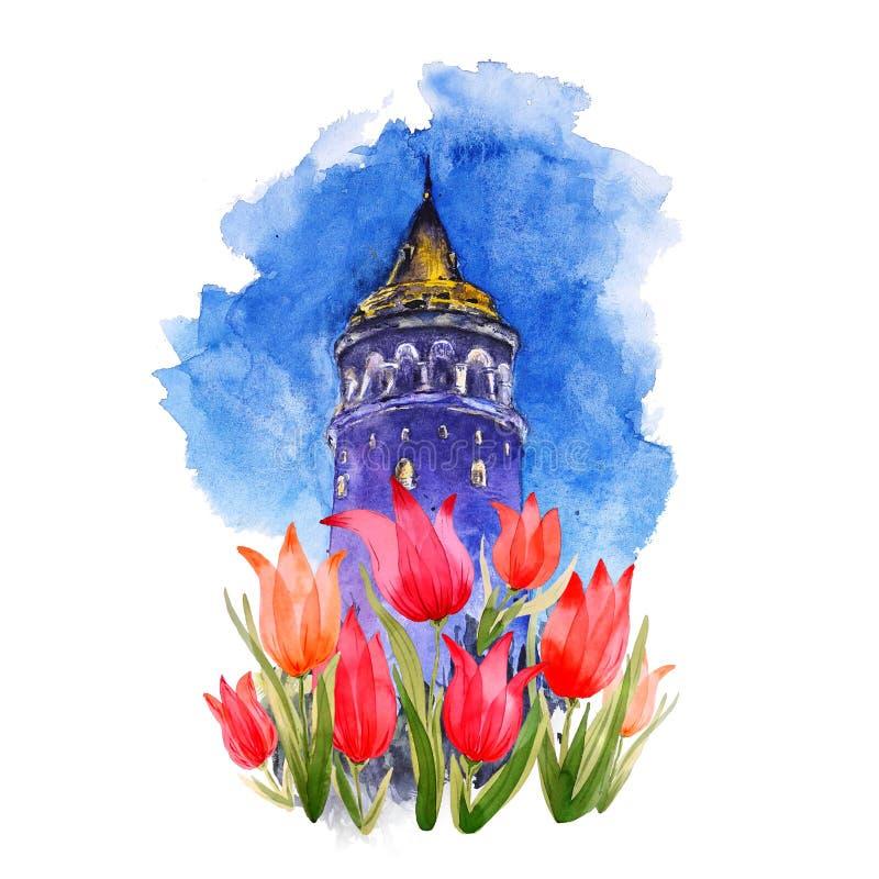 Akwareli Galata wierza w tulipanach, Istanbuł, Turcja royalty ilustracja