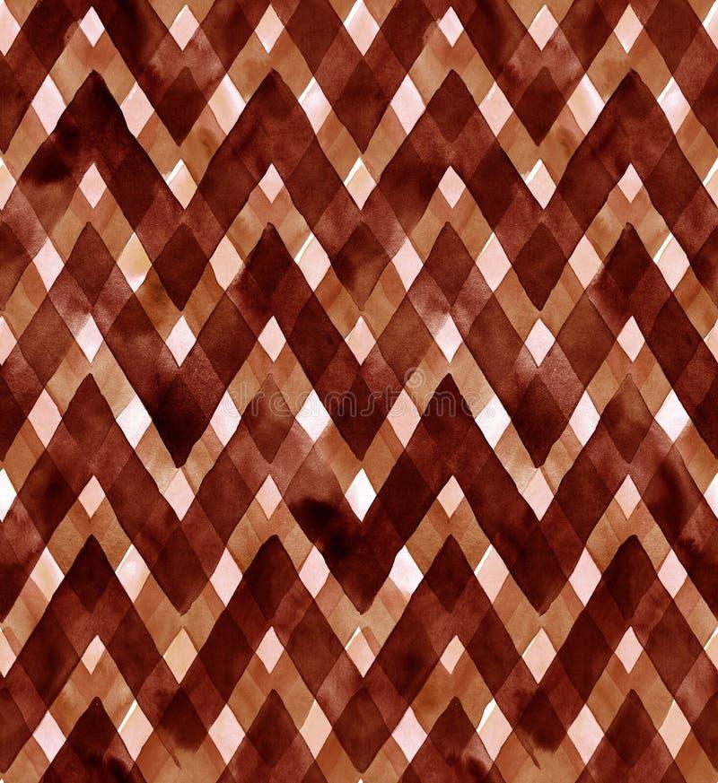 Akwareli gingham brown kolory Bezszwowy wzór dla tkaniny ilustracja wektor