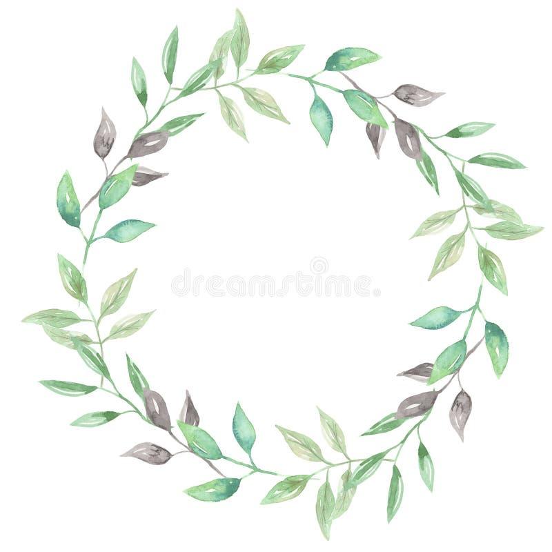 Akwareli girlandy lata liścia Greenery wianku ślubu liści zieleń royalty ilustracja