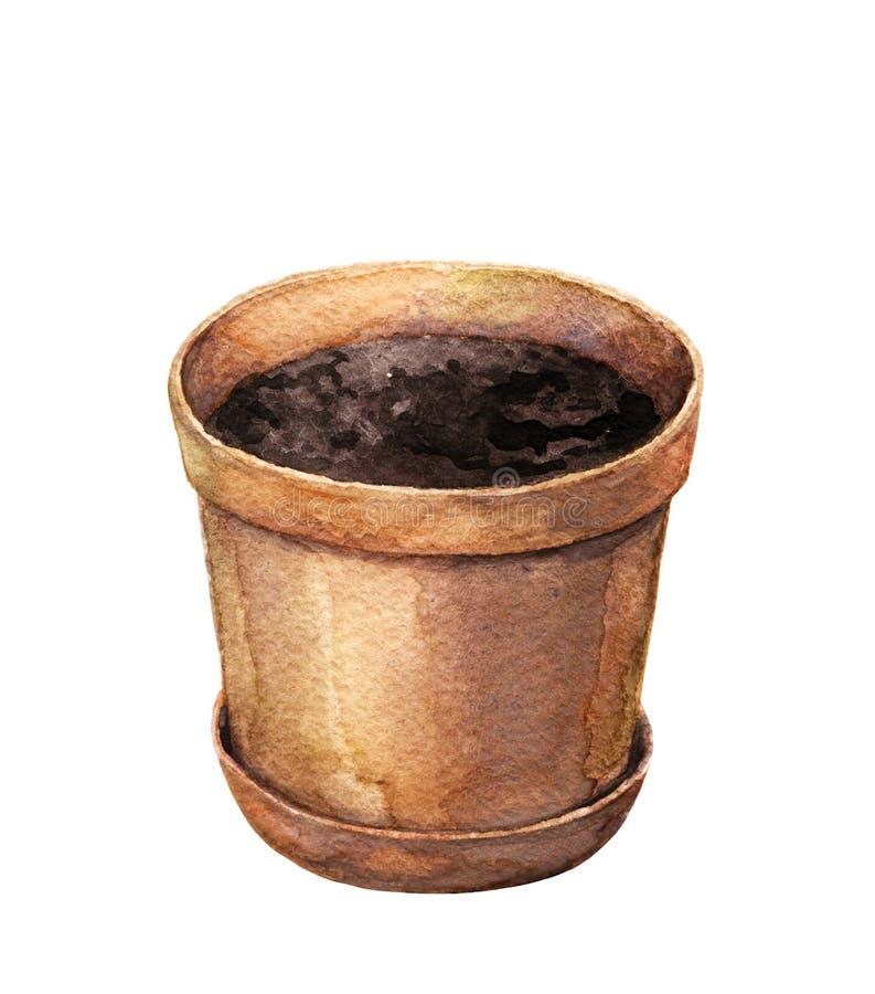 Akwareli gliny flowerpot ilustracja wektor