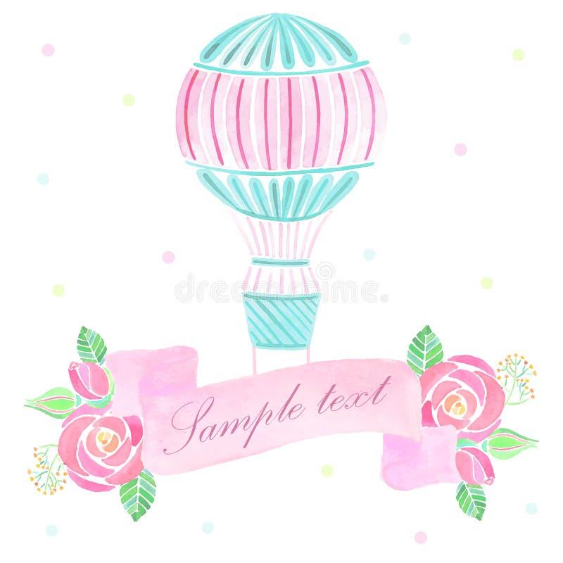 Akwareli gorącego powietrza balonu tło royalty ilustracja