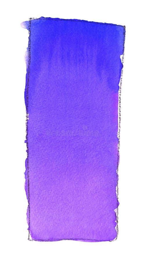 Akwareli gradientowa pełnia od błękita purpury dla tła Tekstura akwarela papier Pionowo prostokąt odskakujący linią ilustracja wektor