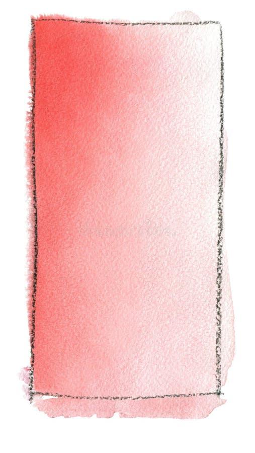 Akwareli gradientowa pełnia od czerwieni biel dla tła Tekstura akwarela papier Pionowo prostokąt odskakiwał linią royalty ilustracja
