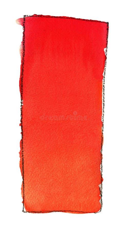Akwareli gradientowa pełnia od czerwieni pomarańcze dla tła Tekstura akwarela papier Pionowo prostokąt odskakiwał linią ilustracja wektor
