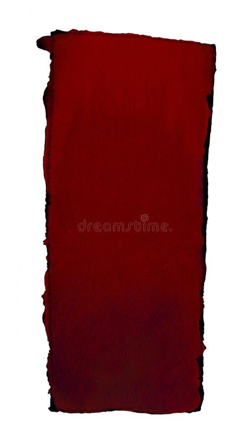 Akwareli gradientowa pełnia od czerwieni zmrok - czerwień dla tła Tekstura akwarela papier Pionowo prostokąt odskakujący linią royalty ilustracja