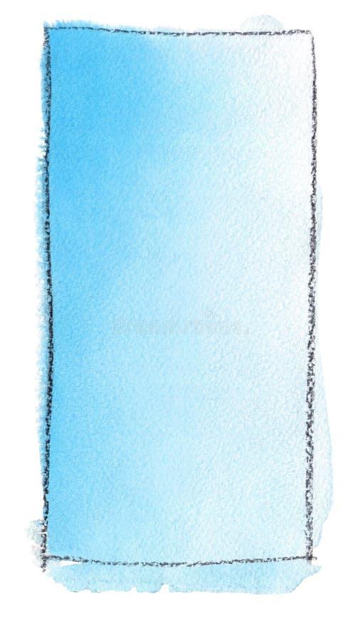 Akwareli gradientowa pełnia od Greckiego błękita biel dla tła Tekstura akwarela papier Pionowo prostokąt odskakujący a ilustracja wektor