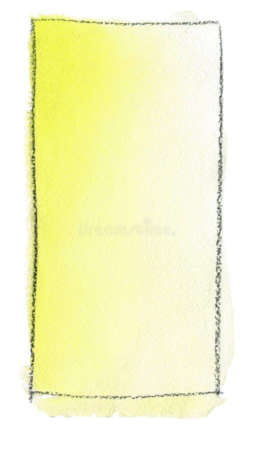 Akwareli gradientowa pełnia od koloru żółtego biel dla tła Tekstura akwarela papier Pionowo prostokąt odskakujący linią ilustracja wektor