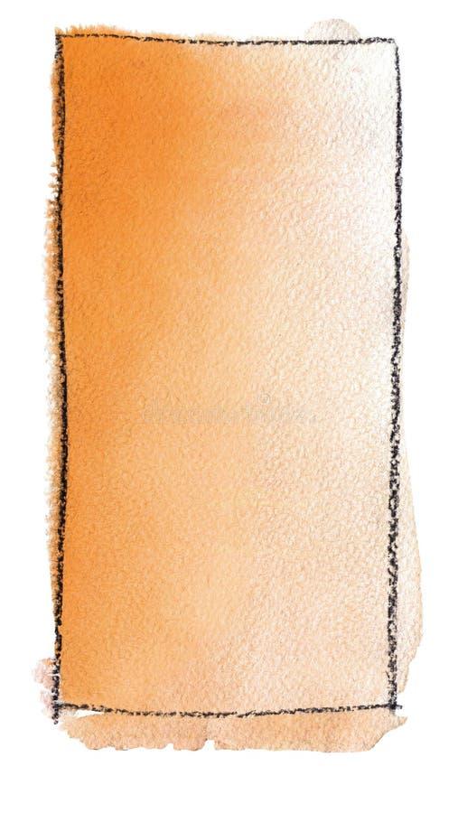 Akwareli gradientowa pełnia od pomarańcze biel dla tła Tekstura akwarela papier Pionowo prostokąt odskakujący linią royalty ilustracja