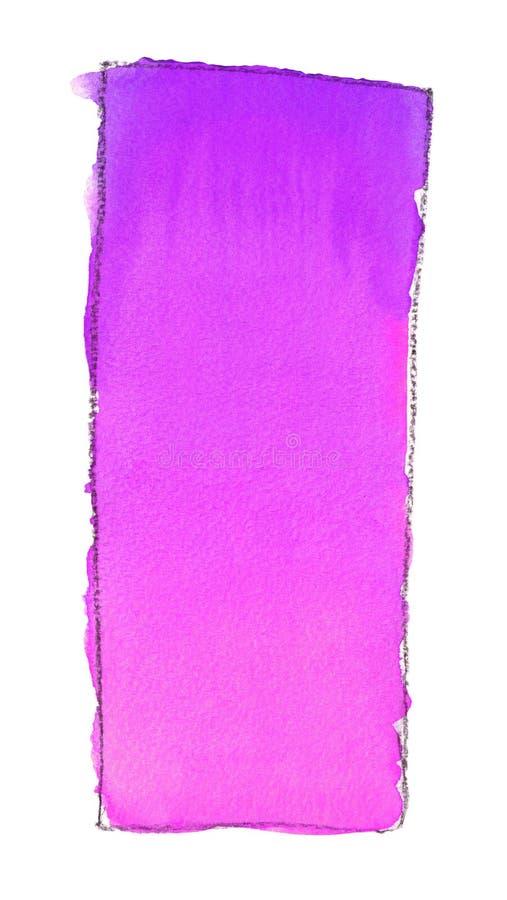 Akwareli gradientowa pełnia od purpur różowić dla tła Tekstura akwarela papier Pionowo prostokąt odskakujący linią ilustracja wektor
